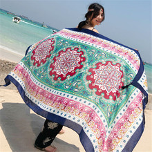 Fashion 180*100cm Summer Sunscreen Faux Silk Shawls Scarves For Womens Cotton and Linen Flower Print Scarf Beach Large Wraps
