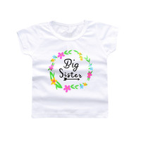 Sale Baby Girls Tees Summer Short Sleeve Cotton Baby Girls Tshirt White Floral Wreath Letter Printed