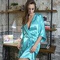 Novas Mulheres Acolhedores Imitado Tecido De Seda Com Decote Em V Sexy Respirável Luva Dos Três Quartos Caixilhos Nightdress Mini Elegent Nightdress_SH351