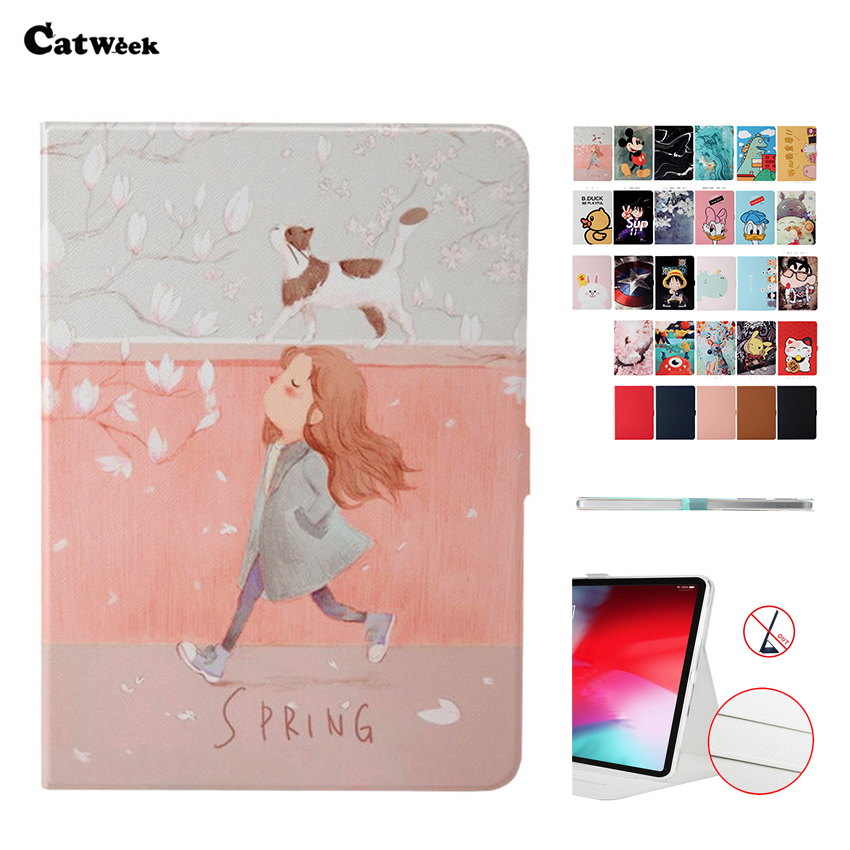 Case For IPad Pro 12.9 2018 PU Leather Cover Smart Funda Slim Print Protect Stand For New IPad Pro 12.9'' 2018 Tablet Shell Skin