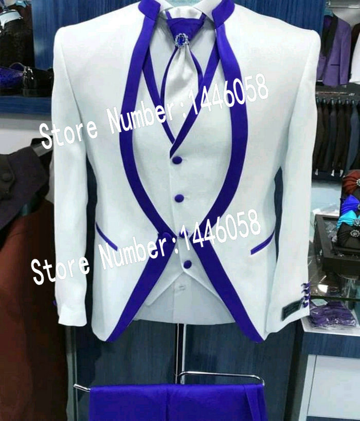 2019 White Royal Blue Satin Clothing For Men Suit Set Mens Wedding Suits Costume Groom Tuxedo Formal Prom Suit(Jacket+pants+vest
