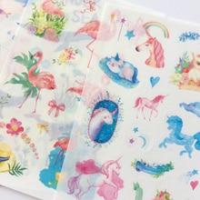Flamingo Adhesive-Stickers Washi Paper Unicorn Hand-Account Label Decorative-Album Animals