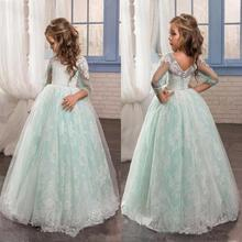 White Blue Tulle Flower Girl Dresses for Weddings Long Sleeve 2017 Lace Appliques Buttons Kids Formal Pageant Party Gowns FH109