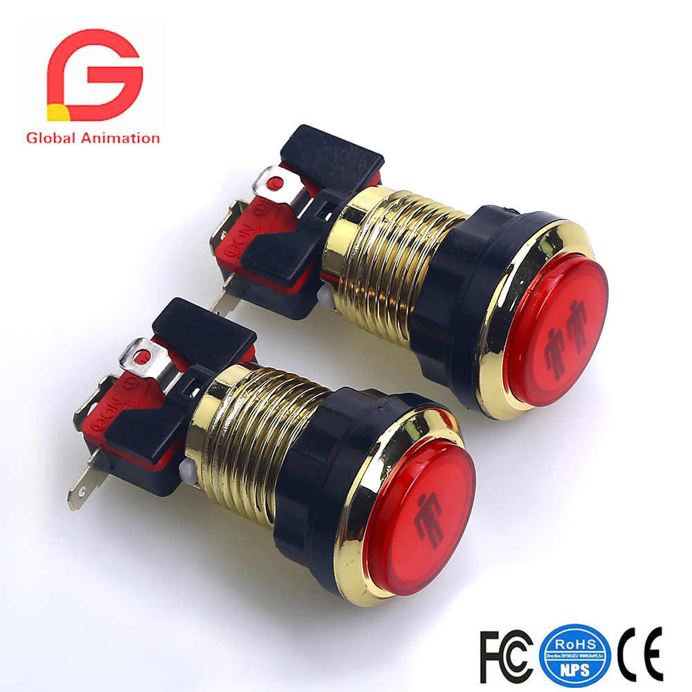 2pcs CHROME Gold LED illuminated Stents 5V LED Arcade 1P/2P Start Push Button With Microswitch LED Button For JAMMA Arcade Game