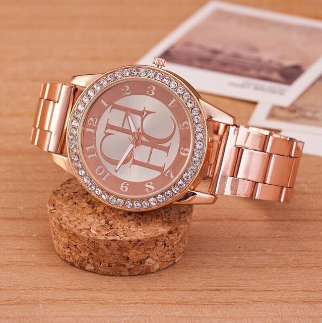 Элитный бренд Часы женское Повседневное платье золотые часы кварцевые модные Нержавеющаясталь Кристалл женские Наручные Часы Relogio feminino