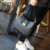 AETOO Head-layer cowhide simple practical saddle bag, hand carry shoulder bag, leather bucket bag, large capacity crossbody bag