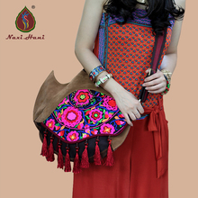Newest Naxi Hani Original Exotic arenaceous cow leather embroidery bags Ethnic handmade beaded tassel shoulder Messenger