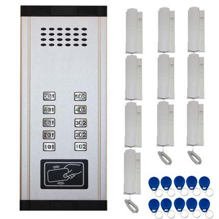 SMTVDP New Arrival Audio Door Phone Intercom System 10-apartments Audio Doorbell,New Design Indoor Unit ID Card Unlock Function