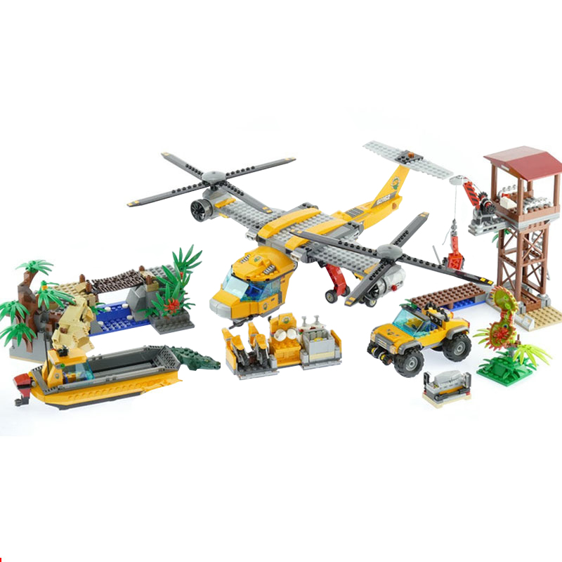 Lepin 02085 Creative City series the Jungle Air Drop Helicopter Boat Building Blocks set 60162 Toys for children Gift Legoingse lepin 02012 774pcs city series deep sea adventure boat model building blocks bricks toys for children gift 60095