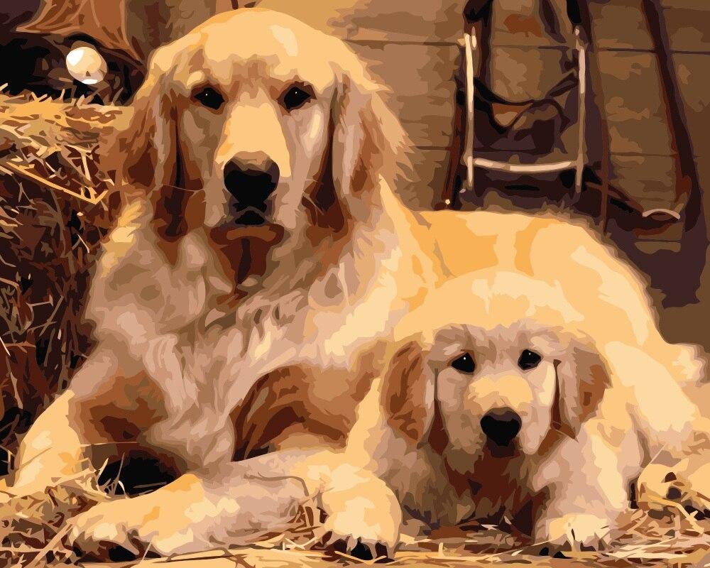 Mahuaf-i655 כלב אבא ובן ציור diy by מספרי בעלי החיים בד המצויר ביד שמן הדיגיטלי ציורים לסלון בית תפאורה