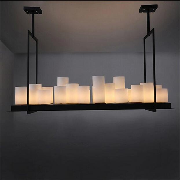 Led Pendant Lamp American Retro French Designer Style Marble Candle Holders Droplight Restaurant Lights Hanging In From