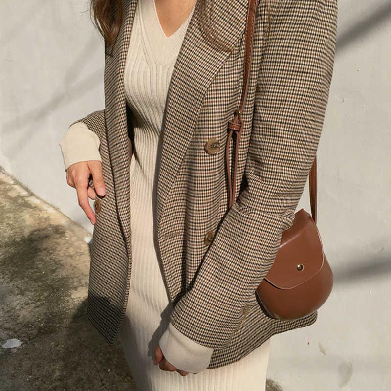 Vintage Double Breastedสุภาพสตรีลายสก๊อตBlazerแขนยาวหลวมHoundstoothเสื้อสูทแจ็คเก็ตหญิง 2020