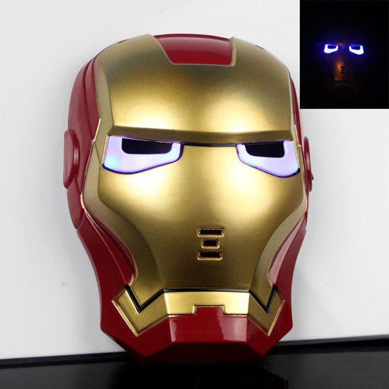 New Cartoon Mask The Avengers Superhero LED Iron Man Mask Action Figure Model Toys Halloween Cosplay Gift For Adult & Child 2017 new avengers super hero iron man hulk toys with led light pvc action figure model toys kids halloween gift