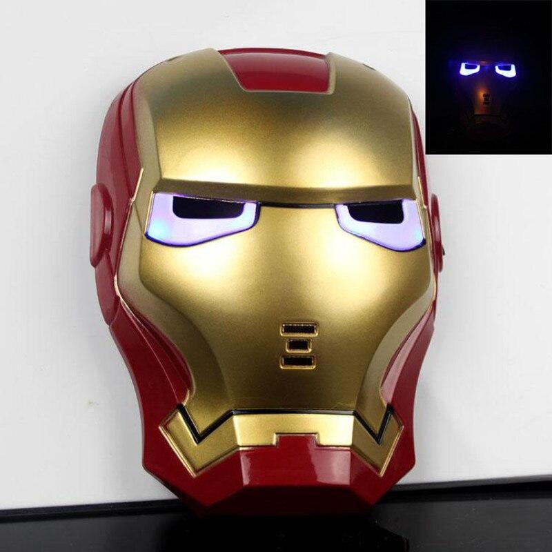 New Cartoon Mask The Avengers Superhero LED Iron Man Mask Action Figure Model Toys Halloween Cosplay Gift For Adult & Child