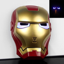 New Cartoon Mask The Avengers Superhero LED Iron Man Mask Action Figure Model Toys Halloween Cosplay Gift For Adult & Child