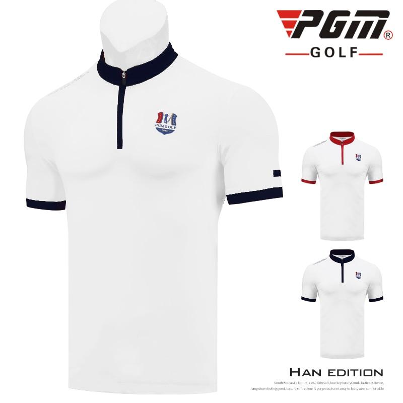 PGM nouveau Golf hommes à manches courtes T-Shirt été respirant séchage rapide sportswear hauts tissu fonctionnel fermeture éclair col montant Design