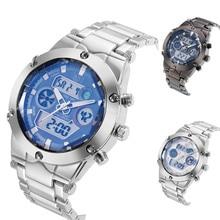 Hombres Reloj de Cuarzo LED Digital Cronógrafo Fecha Reloj Militar Ejército Watchface Grande Relojes de Pulsera de Acero Inoxidable de Negocios LL @ 17