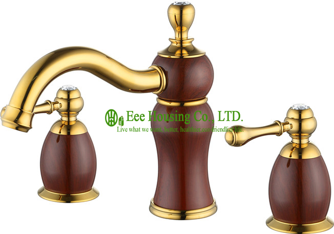 Free Shipping Brass Three-hole Basin Mixer,basin Faucet,gold-titanium And Grain Finished,bathroom Accessories