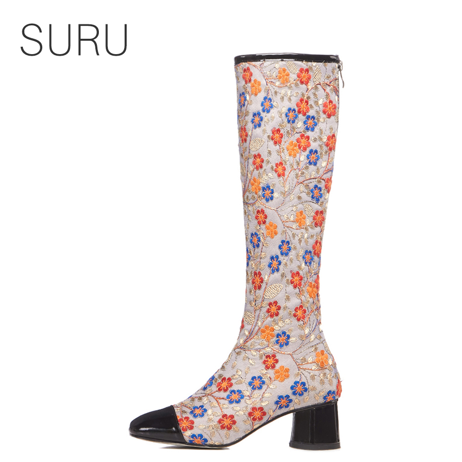 SURU Embroider Floral Knee High Boots Women 2018 New Cap-toe Chunky Heels Long Boots For Student Lady Schoolgirls Size 40 41 42SURU Embroider Floral Knee High Boots Women 2018 New Cap-toe Chunky Heels Long Boots For Student Lady Schoolgirls Size 40 41 42