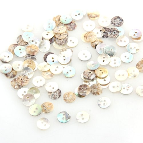 100 Mother of Pearl MOP Round Shell Sewing <font><b>Buttons</b></font> <font><b>8mm</b></font> HOT image