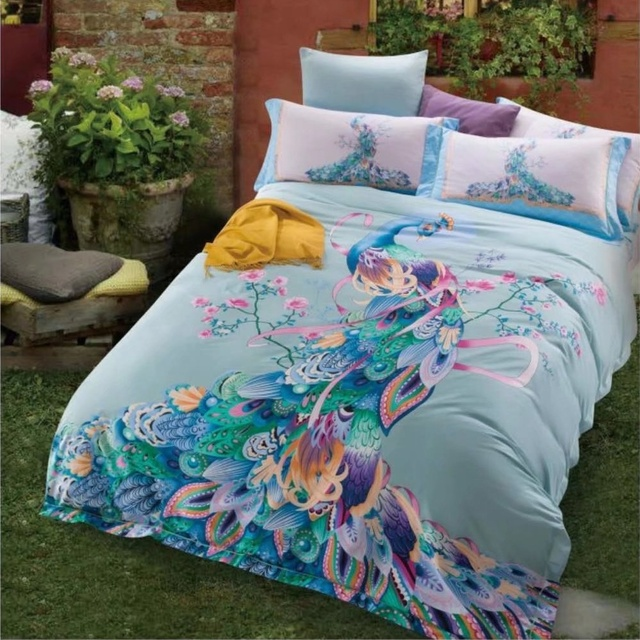 Colourful Peacock Bedding Sets Queen King Size Duvet Covers Bed Sheets  Cotton Printed Pink Blue Home