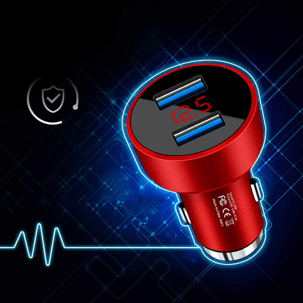 3.1A Dual USB Car Charger 2 Port LCD Display 12-24V Cigarette Socket Lighter LKQ0214