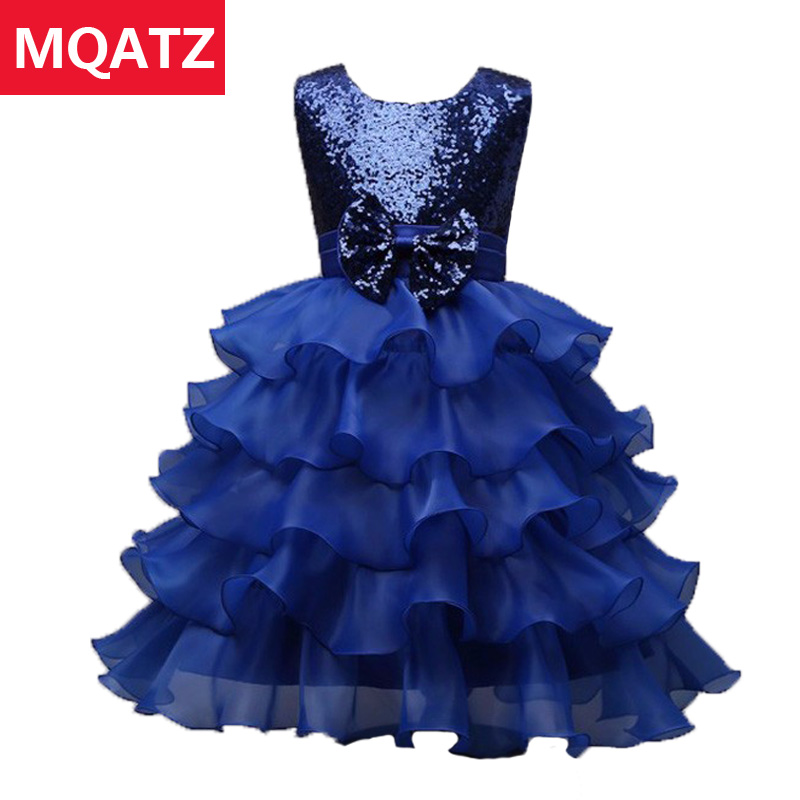 2017 Summer Sequin Cake Baby Girl Dress Princess Flower Girl Dresses 5 Layer Party Prom Kids Clothes Good Voile Ball Gown L7788