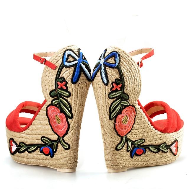 Pink Palms women summer Embroidered suede platform espadrille shoes flower applique supper high heel wedge elegant sandals