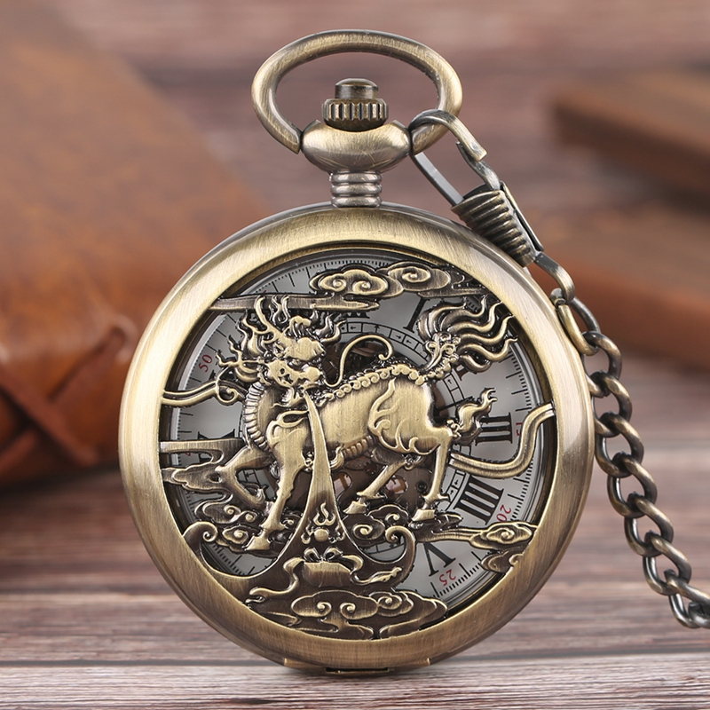 Retro Bronze Kylin Unicorn Cloud Mechanical Pocket Watch Skeleton Vintage Roman Number Men Women Pendant Hollow Fob Clock Gifts steampunk antique silver mechanical skeleton pocket watch mens women watches vintage hollow pendant chain clock gifts retro