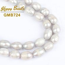 "7-8mm Gray Oval Pearl Beads High Qualit Natural Freshwater Pearl Loose Beads For 15""DIY Making Bracelet Necklace Jewelry(China)"