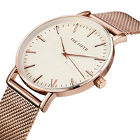 THE FIFTH Top Brand Luxury Women Quartz Watch Casual Men Quartz Watch Stainless Steel Mesh Strap