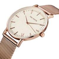 THE FIFTH Top Brand Luxury Women Quartz Watch Casual Men Quartz Watch Stainless Steel Mesh Strap