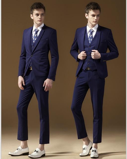 Jackets Pants Vest 3 Pieces Purple One Button Party Dress Skinny ...