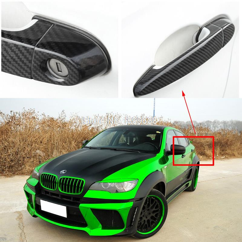 Rear Carbon Fiber Door Handle Bar Cover sticker car accessories styling For BMW X6 E71 xDrive35i 50i x6m 40i m50d 2008 2013