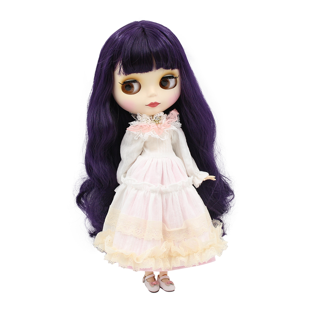 Nude 1/6 Blyth doll joint body pink hair no bangs white