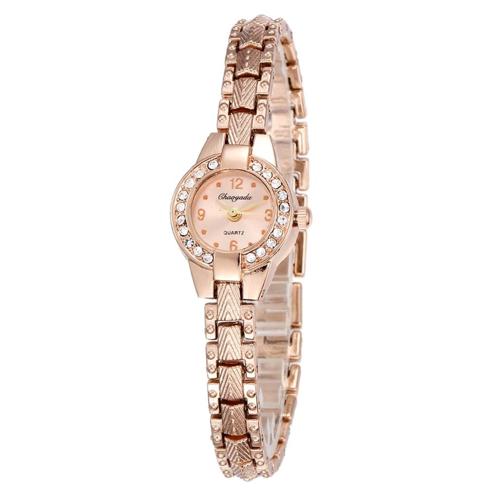 New Luxury Stainless Steel Rhinestone Jewelry Watches Fashion Small Rose Gold Women Quartz Watch Ladies Casual Dress Clock #2TWF