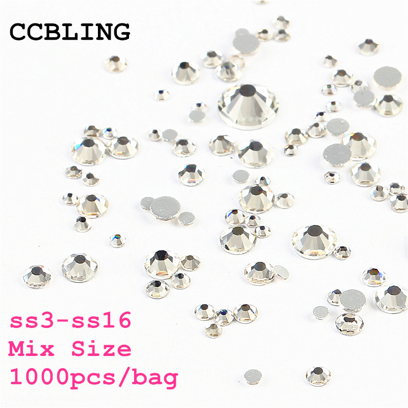 Mix Sizes 1000PCS/Pack Crystal Clear AB Non Hotfix Flatback Rhinestones Nail Rhinestoens For Nails 3D Nail Art Decoration Gems ab rhinestones for nails glass mix size clear strass nail art decorations 3d nail rhinestones on nails art manicure mjz00280