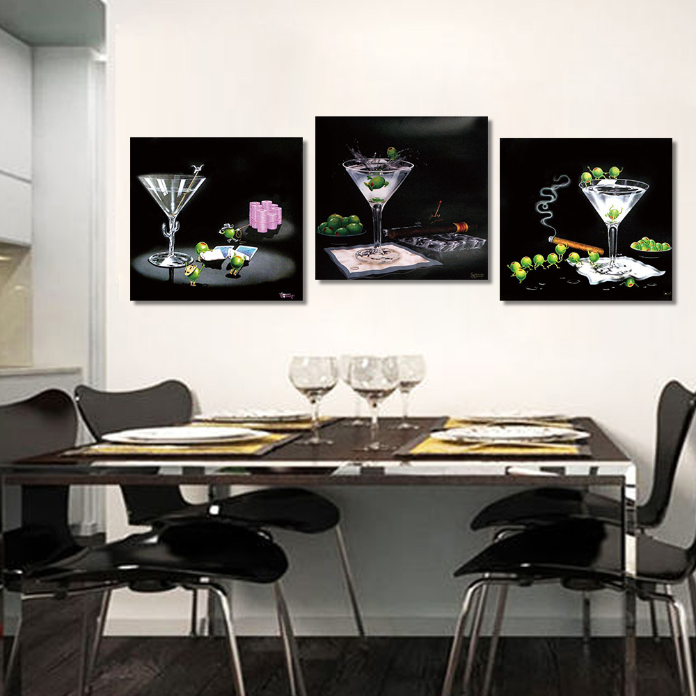 Unframed Multiple Pieces HD Canvas Painting Cartoon Wine Glasses Fruits Decorative Paintings For Living Room Mural Free Shipping