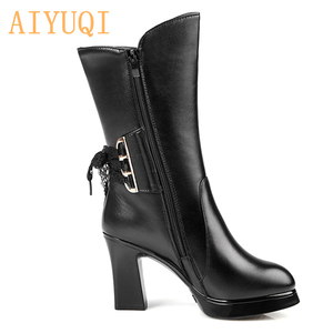 Image 3 - AIYUQI 2020 new genuine leather women boots size 40 wool women genuine winter boots High heeled motorcycle boots women