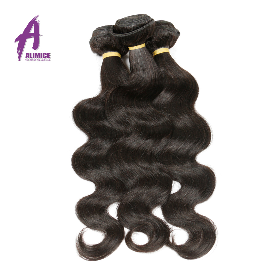Alimice Hair Peruvian Body Wave Bundles 100% Human Hair Weave Natural Color Non Remy Hair Extensions 8-30inch Double Weft