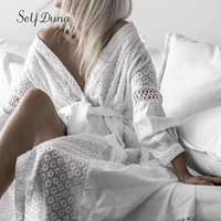 Self Duna 2018 Summer Women Long White Lace Dress Boho Dresses Belted Tassel Hollow Out Loose