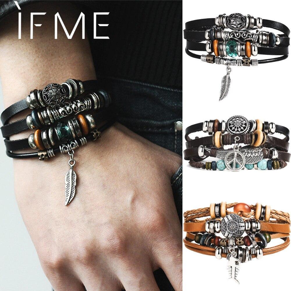 Si moi Design turc oeil Bracelet en cuir pour hommes femme Multiple couche plume Bracelet mode Bracelet fête bijoux cadeau