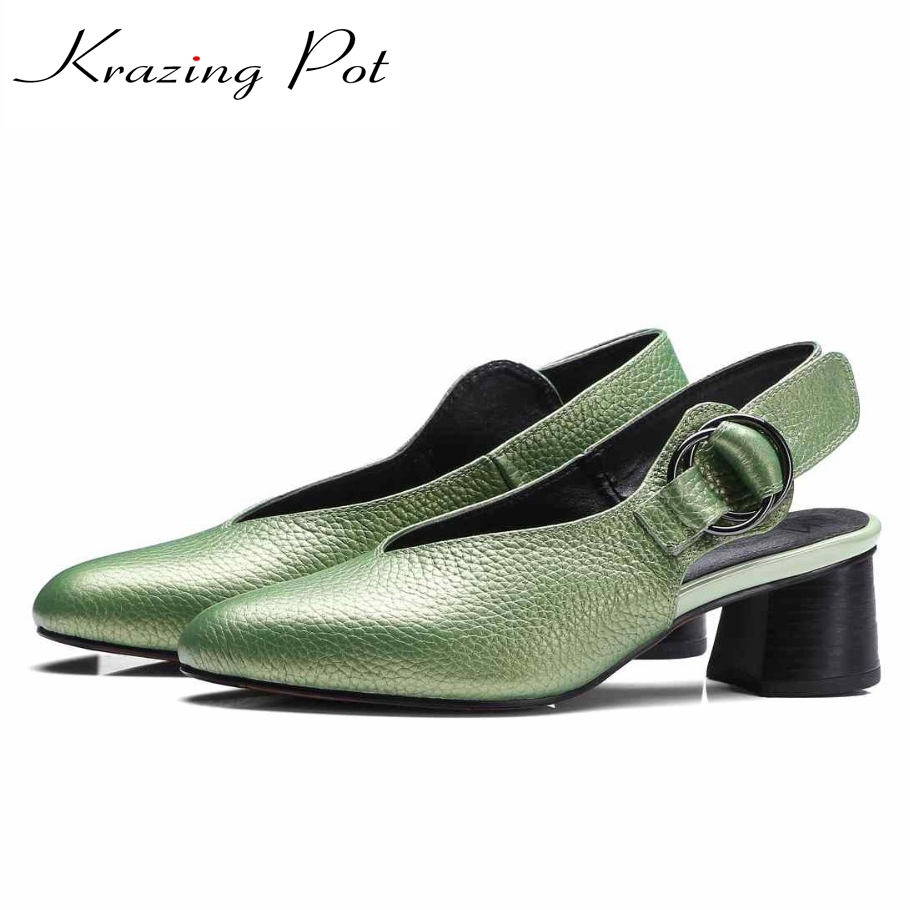 2017 New Krazing Pot New fashion shoes women round toe shallow women pumps metal buckle sling