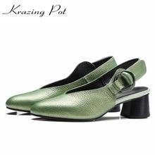 2017 Nueva Krazing Olla Nueva moda zapatos de las mujeres del dedo del pie redondo shallow bombas de las mujeres hebilla de metal sling back causal zapatos de gran tamaño L7f1