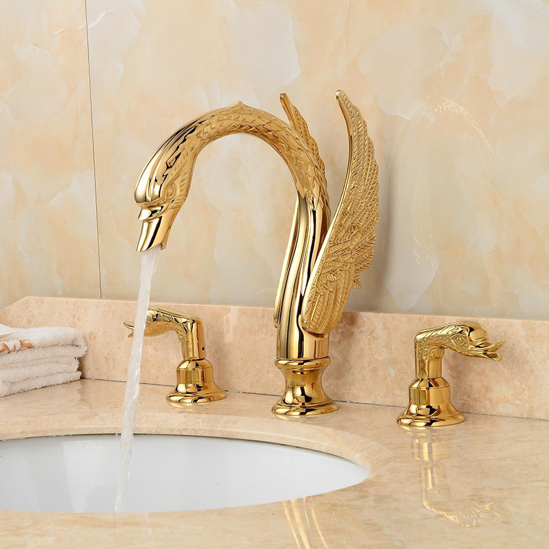 Free shipping 3 PIECES gold clour  swan sink faucet  widespread lavatory sink faucet  MIXER TAPFree shipping 3 PIECES gold clour  swan sink faucet  widespread lavatory sink faucet  MIXER TAP
