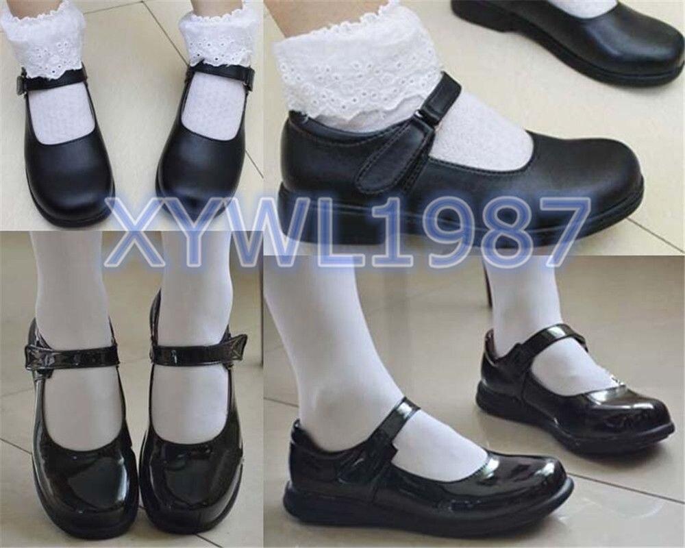 Image 4 - Bonito meninas lolita maid sapatos de couro redondo japão escola  uniforme sapatos botas uwabaki chinelos seikatsu emilia rem ram  cosplaySapatos