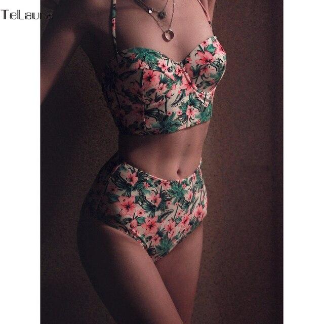 2017 Sexy Cintura Alta Bikini Mulheres Maiô Plus Size Swimwear Maiôs Retro Floral Empurrar Para Cima do Biquíni Set Beach Wear Biquini