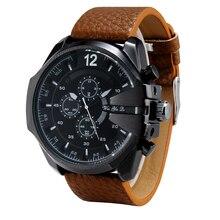 Cronógrafo Reloj de Los Hombres de la Marca de Lujo de Cuarzo Ocasional Reloj Del Deporte Militar Reloj relogio masculino de Los Hombres de Cuero Genuino