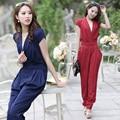 2017 летние комбинезоны Европейских и Американских лотоса рукав комбинезоны женская мода sexy очаровательная комбинезон шаровары