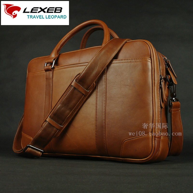 750f672f786a Best buy LEXEB Luxury Brand Designer Men Real Leather Business Laptop Bag  15 Mens Double Main Bags High Quality Large Briefcase cartable online cheap